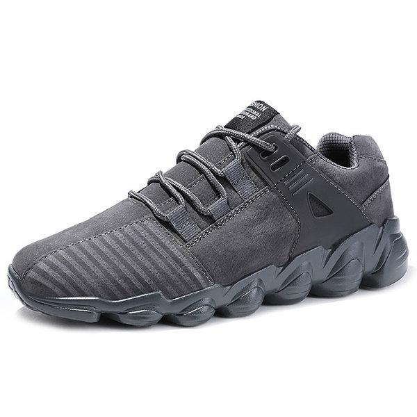 Men Artificial Suede Slip Resistant Lace Up Casual Sneakers