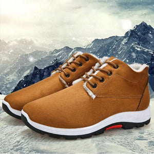 Men Lace Up Plush Lining Sports Snow Shoes