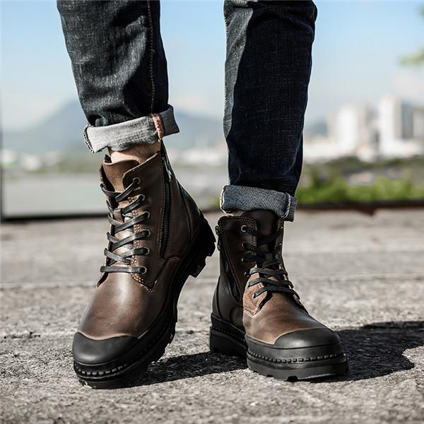 8680b55a3b5 Men's Cow Leather High-top Wear-resistant Casual Boots – YEEZE