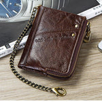 Men's Multifunction Double Zipper  Genuine Leather Anti-Theft Wallet