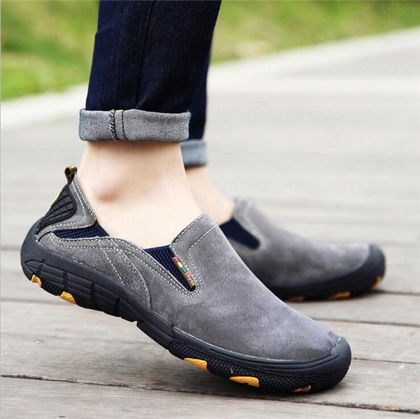 Men Slip On Flats Genuine Leather Driving  Quality Outdoor Casual Shoes