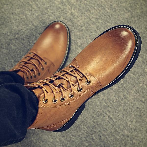 Men Genuine Leather Lace Up Warm Plush Lining Casual Shoes