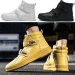 Men High Top Hidden Heel Non-slip Casual Sneakers