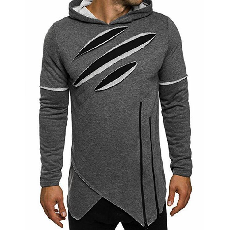 Men Solid Color Long Sleeve Ripped Sweatshirt