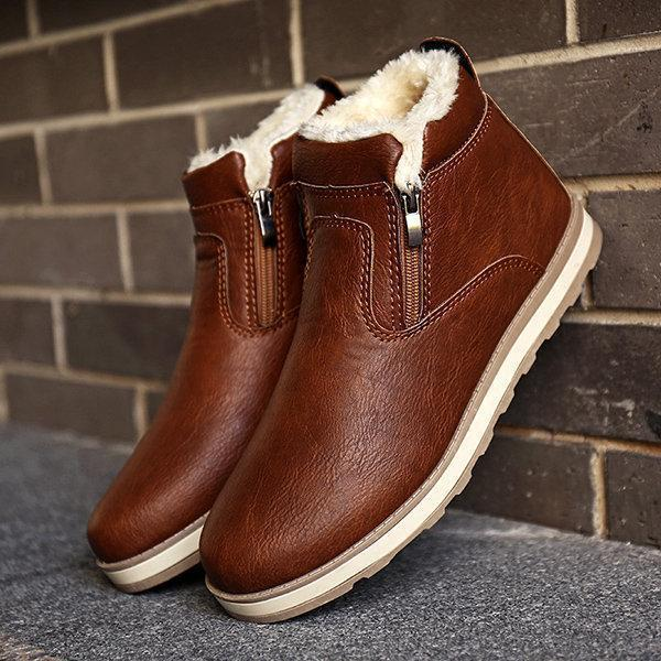 Men PU Leather Warm Plush Lining Side Zipper Casual Boots