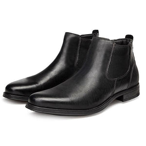 Men Retro Leather Side Zipper Chelsea Casual Boots