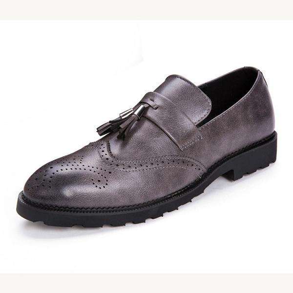 Men Carved Retro Brogue Slip On Formal Shoes