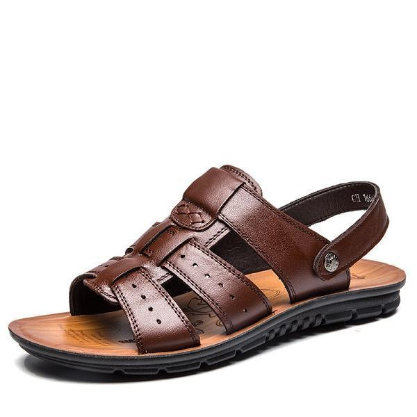 Men Genuine Leather Soft Sandals Shoes