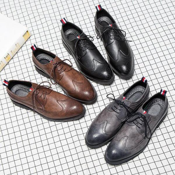 2018 New Large Size Men Leather Brogue Casual Oxfords