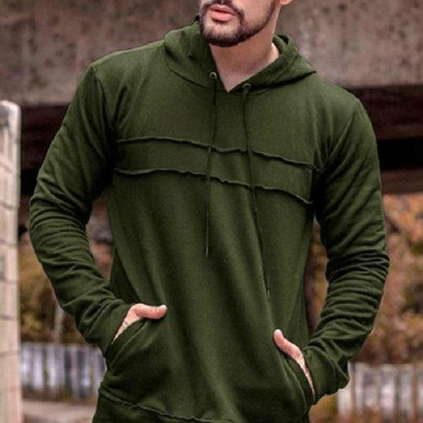 Men Solid Color Fleece Hooded Sweatshirt