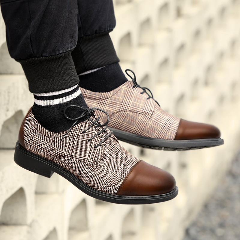 Retro Genuine Leather Plaid Lace Up Boots