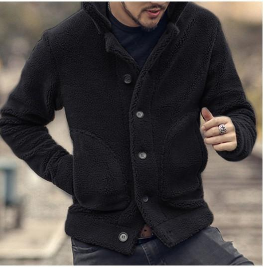 Men Fleece Warm Stand Collar  Solid Color Jacket