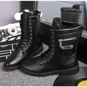 Men Microfiber Leather High Top Side Zipper Boots