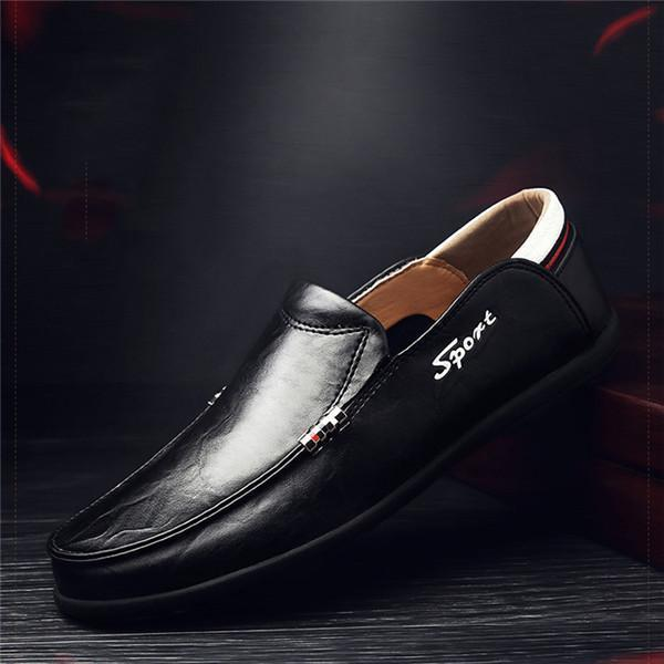 Large Size Men Genuine Leather Comfortable Slip On Casual Shoes