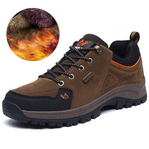 Men Suede Plush Lining Wearable Outdoor Hiking Shoes