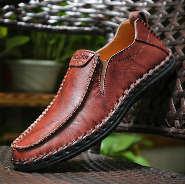 Men Microfiber Leather Hand Stitching Non-slip Casual Shoes