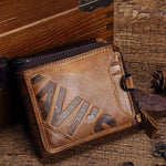 Men Zipper Genuine Leather Casual Wallet