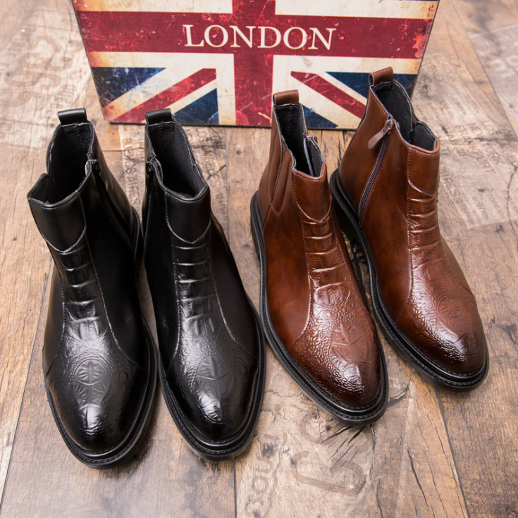 Men British Style Genuine Leather Boots