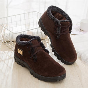 Men Pure Color Corduroy Outdoor Keep Warm Fur Lining Casual Boots