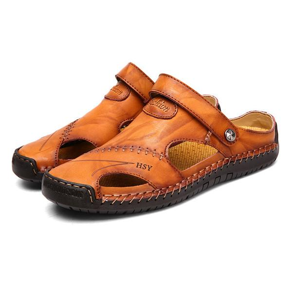 2dd76f5ac4947 Men Hand Stitching Soft Outdoor Closed Toe Leather Sandals – YEEZE