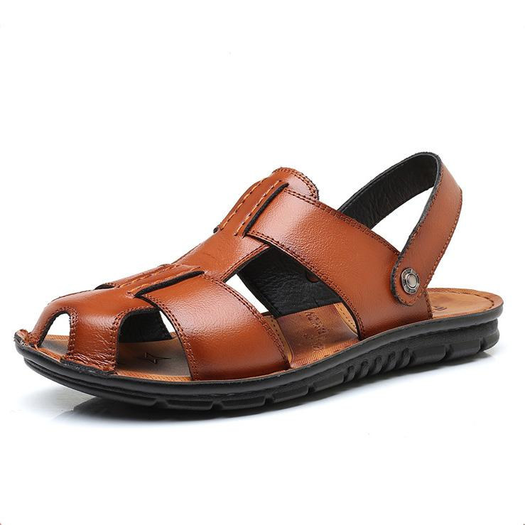 Men's Leather Large Size Anti-Slip Sandals