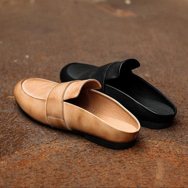 Men Casual British Style Leather Slippers