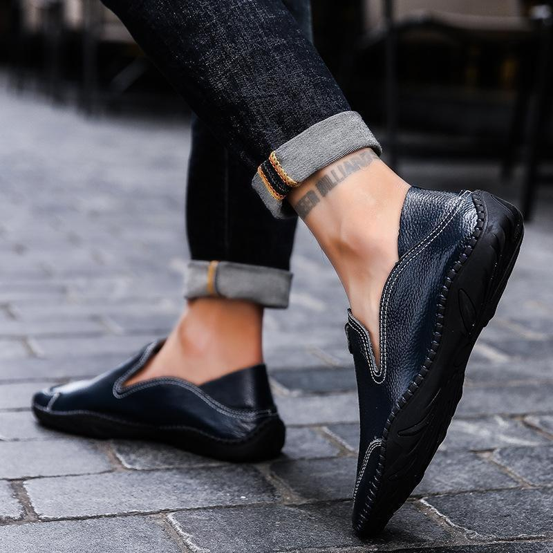 Men Hand Stitching Leather Slip Resistant Casual Driving Loafers