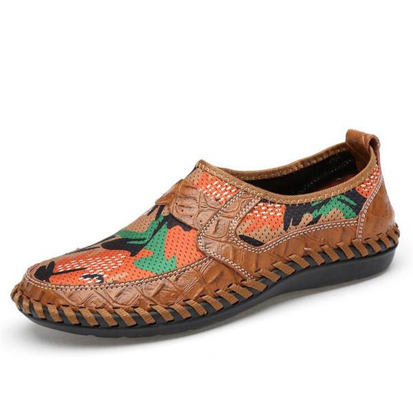 Men Hand Stitching Printed Fabric Splicing Breathable Casual Shoes