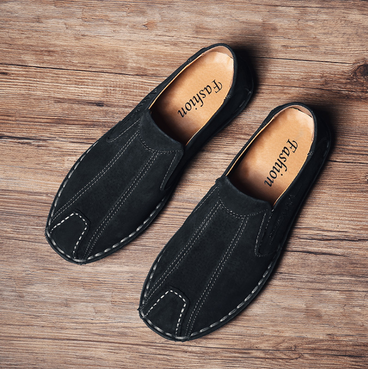 Men Vintage Hand Stitching Soft Slip On Light Casual Loafers