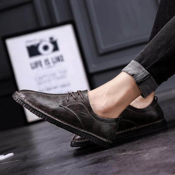 Men Lace Up Soft Flat Casual Shoes
