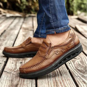 Men Comfy Genuine Leather Elastic Band Slip On Rocker Sole Oxfords Shoes