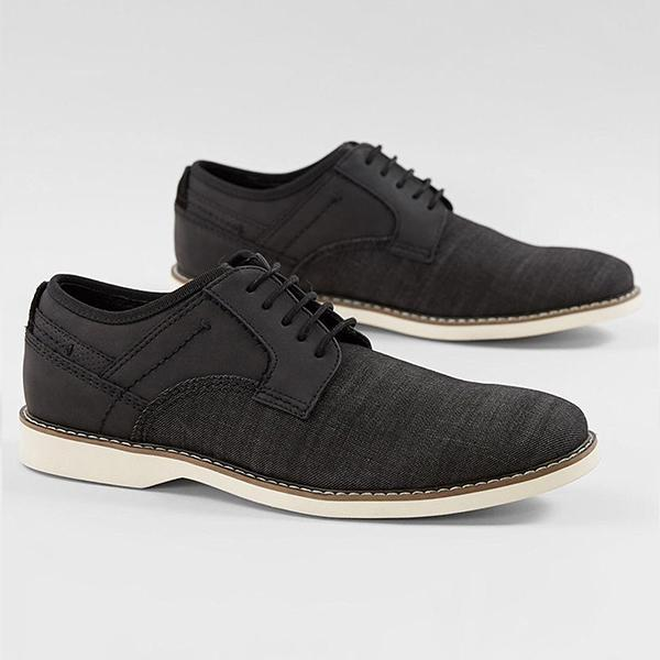 Leather Canvas Lace-up Casual Shoes