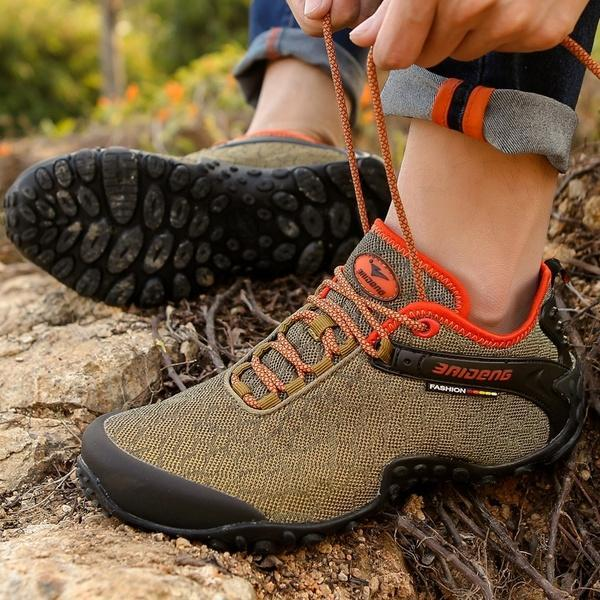 Men Canvas Waterproof Hiking Sneakers