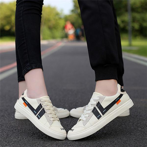 Men And Women Canvas Printed Trainers Flat Lace Up Casual Sneakers