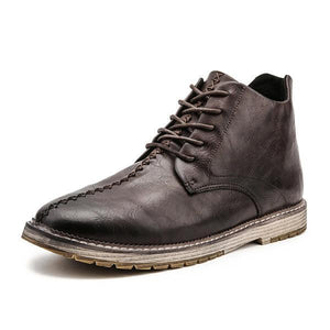 Large Size Men Retro British Style Stitching Lace Up Ankle Shoes