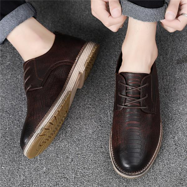 Men Large Size Casual Leather Oxfords Shoes