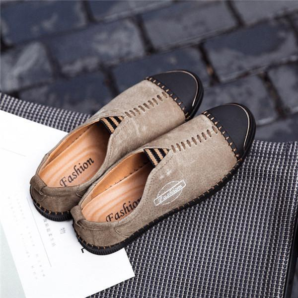 Men Genuine Leather Handmade Stitching Casual Shoes