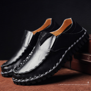 Men Hand Stitching Leather Soft Sole Driving Shoes