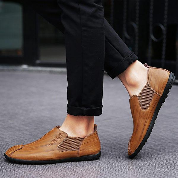 Men Casual Hand Stitching Genuine Leather Elastic Flat Oxfords