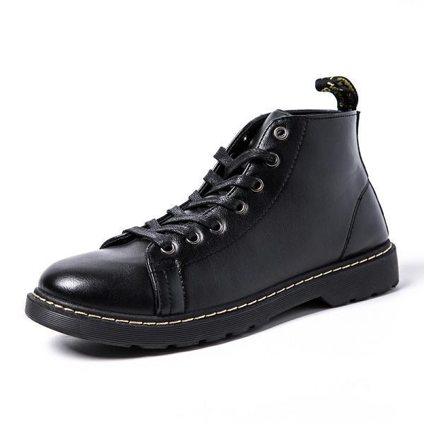 Men Leather Fashion High Top Martin Boots