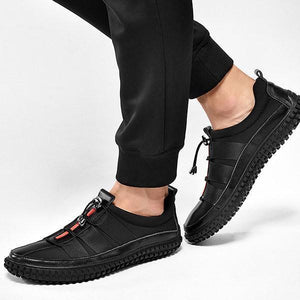 Men Leather Splicing Stylish Casual Sneakers