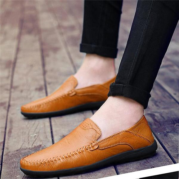 Men Genuine Leather Slip On Casual Driving Shoes