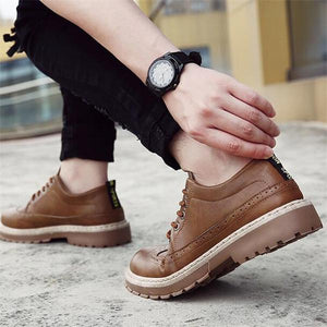 Men British Style Leather Lace Up Casual Shoes