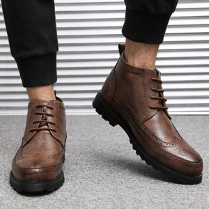Men Microfiber Leather Brogue Carved Lace Up Causual Ankle Boots