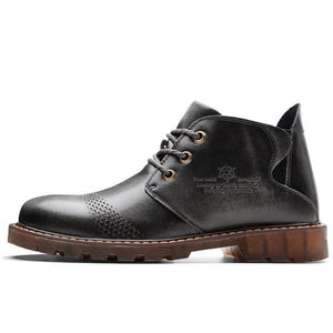 Men Genuine Leather Lace Up Casual Martin Boots
