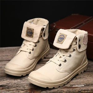 Men Fold-down Cuff Rubber Toe Bumper Ankle Canvas Boots