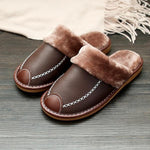Men Leather Home Warm Slippers