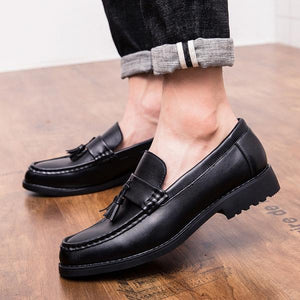 Men Microfiber Leather British Style Slip On Formal Shoes