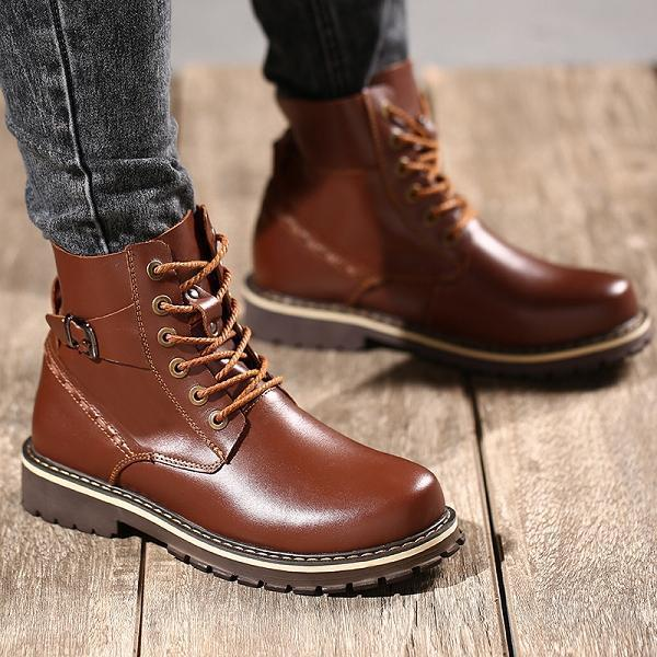 Men Genuine Leather Lace up Warm Plush Lining Boots