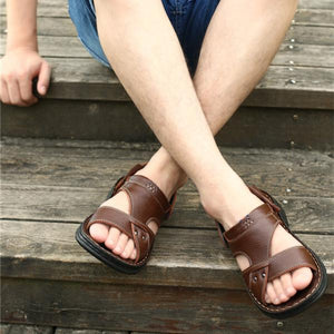 Multifunctional Genuine Leather Men's Soft Breathable Massage Casual Sandals